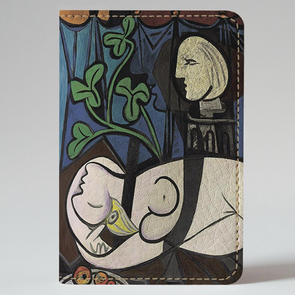 Обложка на автодокументы Fisher Gifts v.1.0. 325 Обнаженная, зеленые листья и бюст. Пабло Пикассо (эко-кожа)