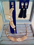 Комплект подовжені сережки - пензлики з чорними каменями і браслет, висота 9 див., фото 2