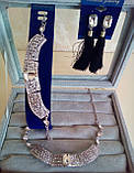Комплект подовжені сережки - пензлики з чорними каменями і браслет, висота 9 див., фото 3