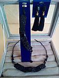 Комплект подовжені сережки - пензлики з чорними каменями і браслет, висота 9 див., фото 4
