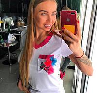 .белая футболка с бабочкой и цветами