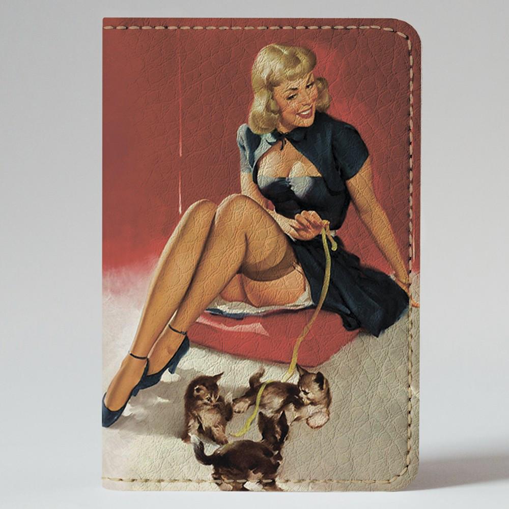 Обложка на автодокументы Fisher Gifts v.1.0. 369 Pin-up. Девушка с котами (эко-кожа)