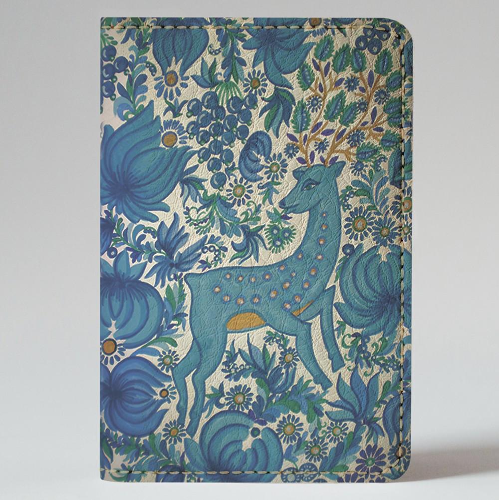 Обложка на автодокументы Fisher Gifts v.1.0. 366 Петриковская роспись. Олень (эко-кожа)