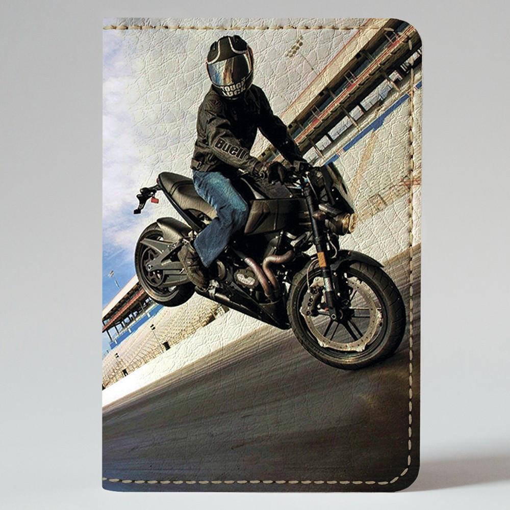 Обложка на автодокументы Fisher Gifts v.1.0. 383 Трюки на мотоцикле (эко-кожа)