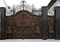 Эксклюзивные кованые ворота с калиткой, код: 01085