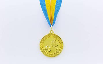 Медаль спортивна зі стрічкою Баскетбол(діаметр 5 см)