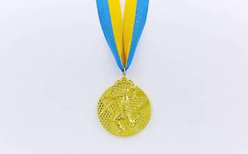 Медаль спортивна зі стрічкою Гандбол(діаметр 5 см)