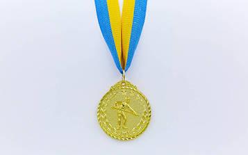 Медаль спортивна зі стрічкою Більярд (метал, d-5см, 25g, 1-золото, 2-срібло, 3-бронза)