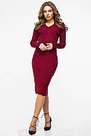 Женское платье утепленное облегающее однотонное бордовое., фото 1