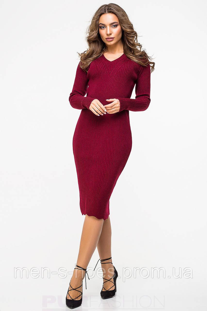Женское платье утепленное облегающее однотонное бордовое. -