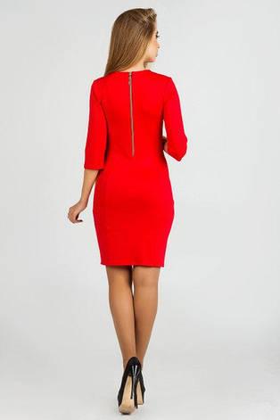 Эффектное облегающея женское платье Орхидия с украшением французский трикотаж  красный  цвет  размер  44, 46, фото 2