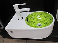 Умывальник накладной керамический белый/салатовый с узорами, фото 1