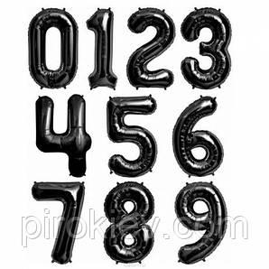 Черные фольгированные цифры от 0 до 9 размер 88 см.