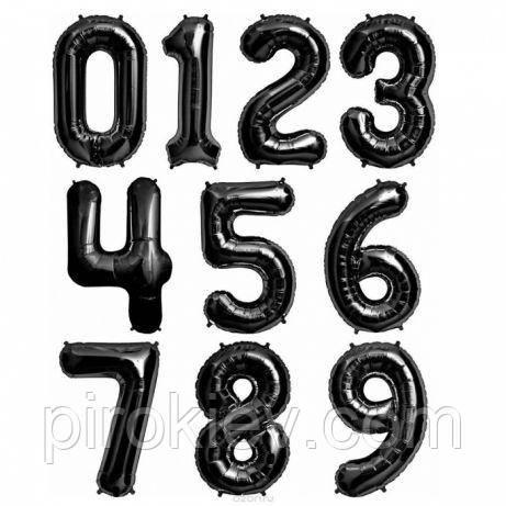 Черные фольгированные цифры от 0 до 9 размер 88 см., фото 1