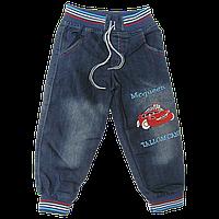 Детские джинсы р. 116 с трикотажными манжетами и поясом, с вышивкой, Турция
