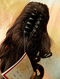 Хвост-шиньон кучерявый на крабе шоколадный 6871-6, фото 3