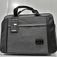 Стильная сумка для ноутбука и документов. Декоративная вставка из ткани. Современная, профессиональная модель.