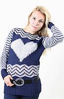Женский вязанный джемпер с сердечком,цвета в ассортименте