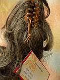 Хвост-шиньон кудрявый на крабе седой мелированный 6871-8/101, фото 8