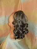 Хвост-шиньон кудрявый на крабе седой мелированный 6871-8/101, фото 5