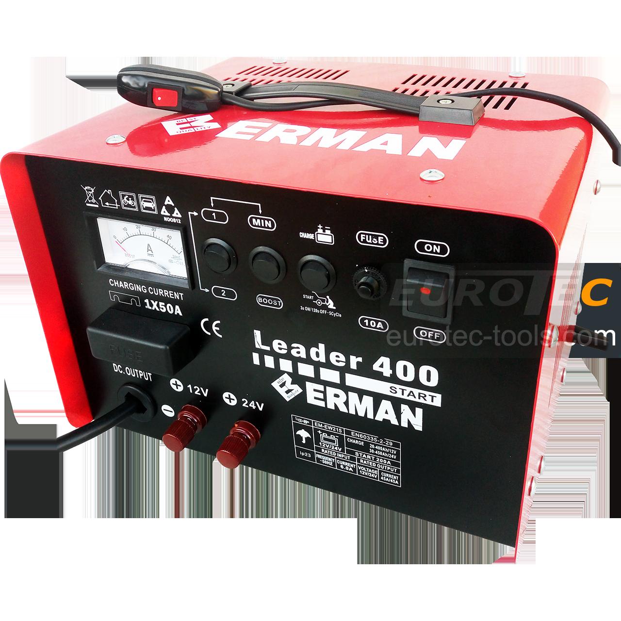 Пусковий зарядний пристрій для акумулятора авто Erman EW 215, 200 А, швидка зарядка Boost 12/24 В