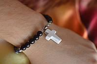 """Мужской браслет с обсидианом, магнезитом и шунгитом с крестом  """"Уран"""""""