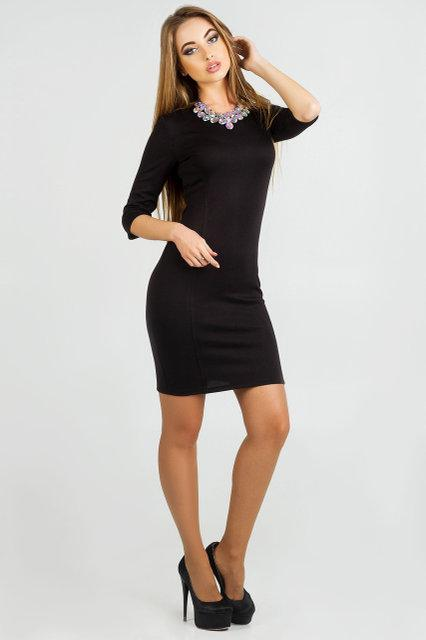 331155bd14d65c7 Эффектное облегающея женское платье Орхидия с украшением французский  трикотаж черный цвет размер 44, 46 -