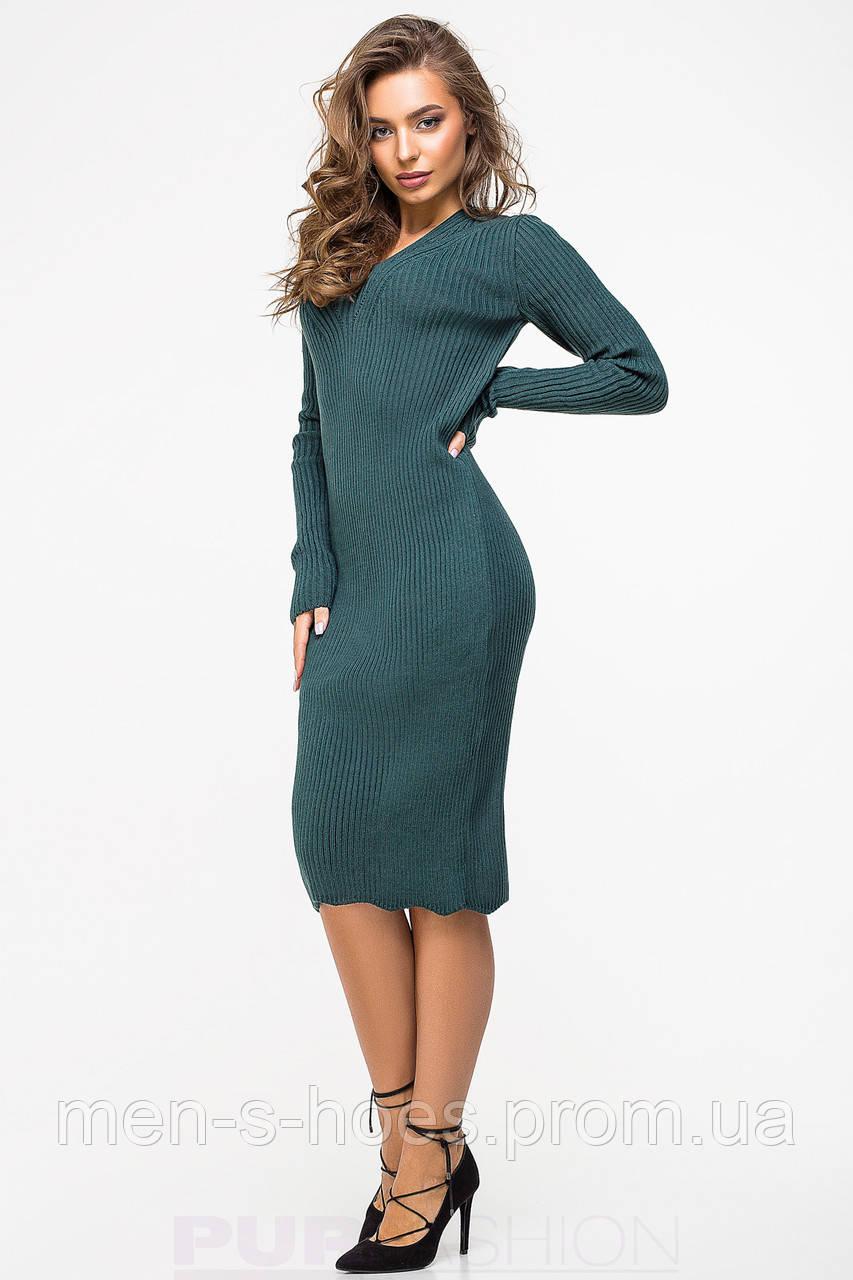 Женское  приталенное однотонное зеленое  платье на каждый день.