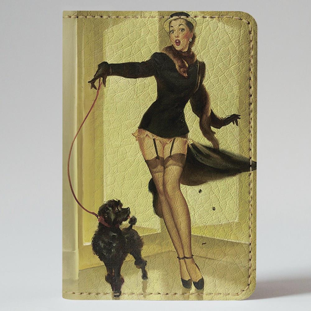 Обложка на автодокументы Fisher Gifts v.1.0. 553 Пин-ап. Дама с собачкой (эко-кожа)