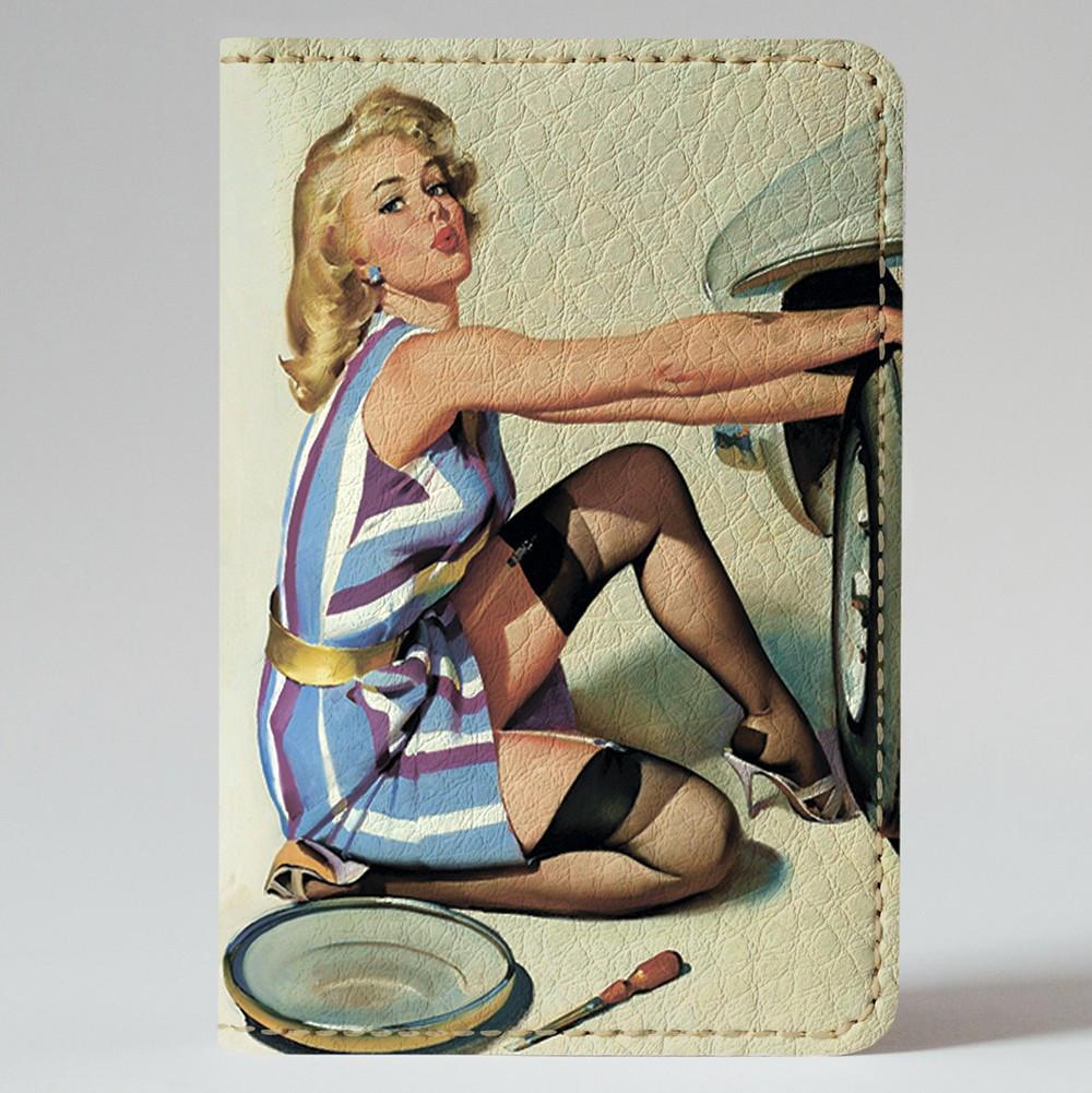 Обложка на автодокументы Fisher Gifts v.1.0. 554 Пин-ап. На все руки мастер (эко-кожа)