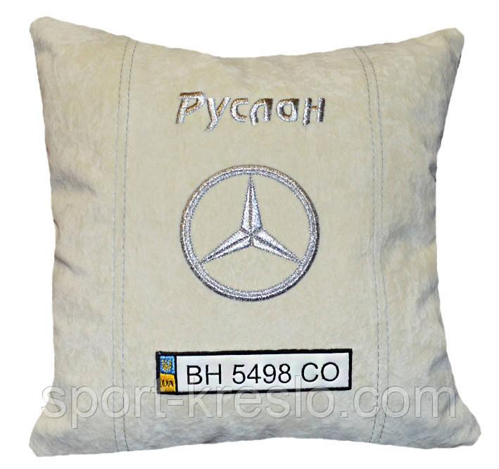 Подушка сувенирная в машинус логотипом Mercedes мерседес