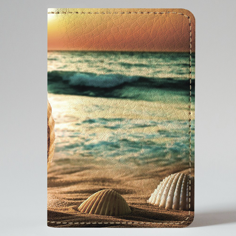 Обложка на автодокументы Fisher Gifts v.1.0. 584 Ракушка на морском побережье (эко-кожа)