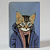 Обложка на автодокументы Fisher Gifts v.1.0. 596 Кот на стиле (эко-кожа), фото 5
