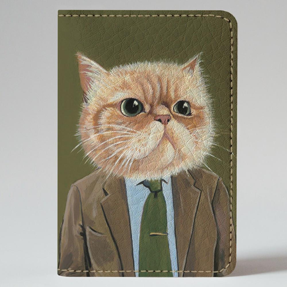 Обложка на автодокументы Fisher Gifts v.1.0. 597 Кот директор (эко-кожа)