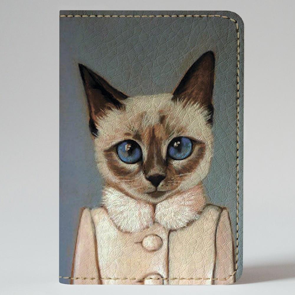Обложка на автодокументы Fisher Gifts v.1.0. 599 Кошечка Лариса (эко-кожа)