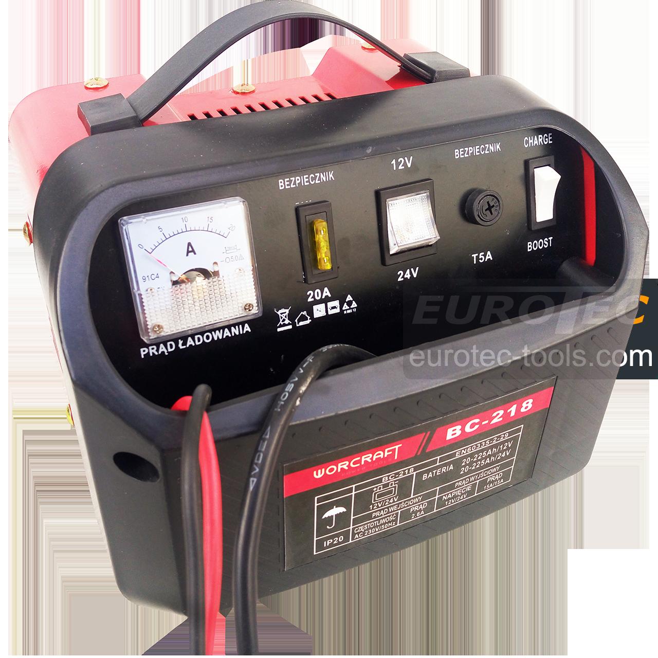 Зарядное устройство для аккумуляторов 12/24 В, 15 А, автомобильное, быстрая зарядка BOOST, Worcraft BC 218