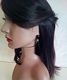 Комплект подовжені сережки - пензлики з чорними каменями і браслет, висота 9 див., фото 5