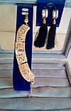 Комплект подовжені сережки - пензлики з чорними каменями і браслет, висота 9 див., фото 6