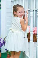 Нарядное платье детское Пион молочное шифон+трикотажная подкладка, гипюр 104, 110, 116, 122см