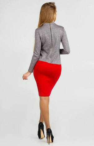 Новое нарядное женское платье Роксана двухсторонний трикотаж люкс серо\красный цвет  размер 42, 44, 46, 48, фото 2