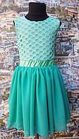 Нарядное платье детское Пион мята шифон+трикотажная подкладка, гипюр 104, 110, 116, 122см
