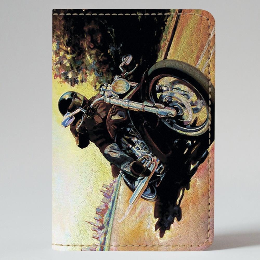 Обложка на автодокументы 1.0 Fisher Gifts 723 Мотоцикл на скорости (эко-кожа)