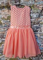 Нарядное платье детское Пион персиковое шифон+трикотажная подкладка, гипюр 104, 110, 116, 122см