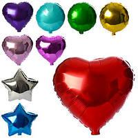Шарики надувные фольгированные MK 1343 (1000шт) 44см, 3вида(шар,сердце.звезда),микс цветов