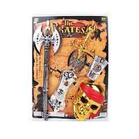 Набор пирата 1670-3  маска, меч 58см, топор 56см, доспехи, на листе, 43-56,5-5,5см