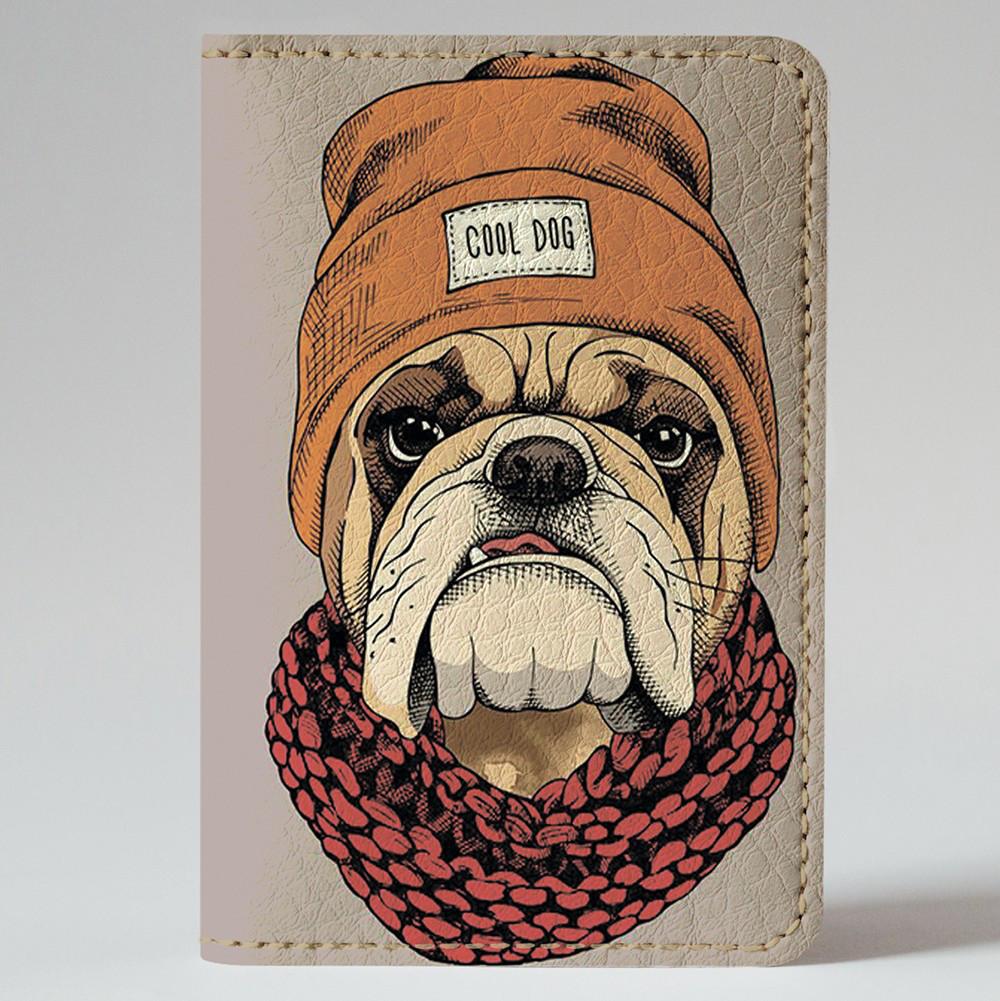 Обложка на автодокументы v.1.0. Fisher Gifts 793 Бульдог в шапке (эко-кожа)