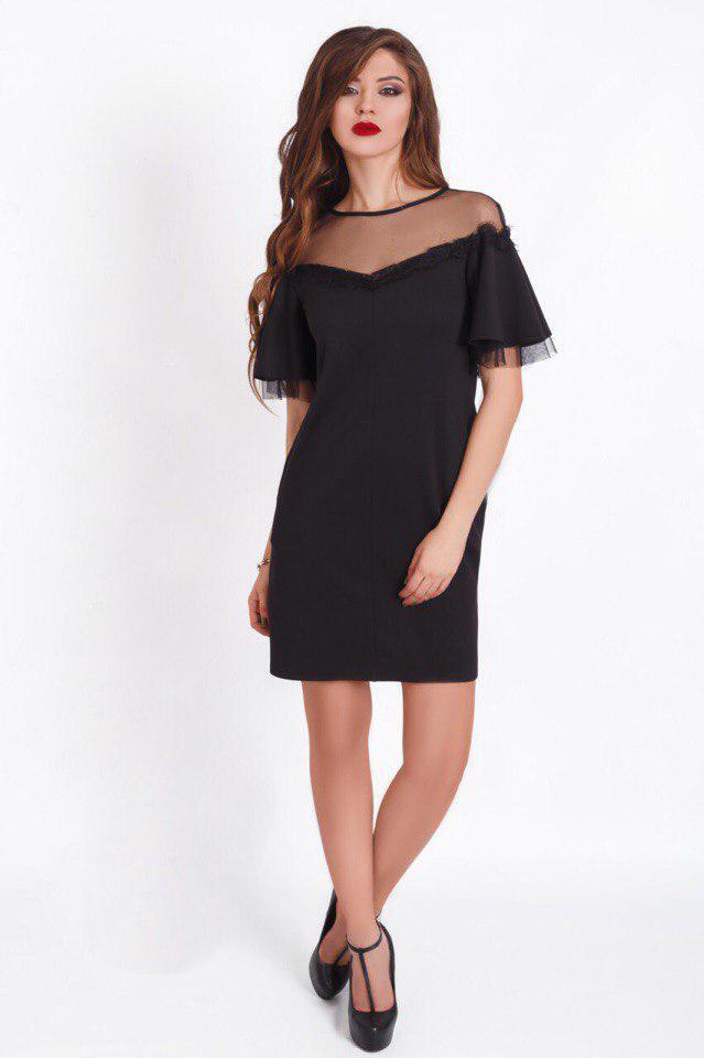 """Нарядное комбинированное платье-футляр """"OPINE"""" с сеткой и коротким рукавом (3 цвета)"""