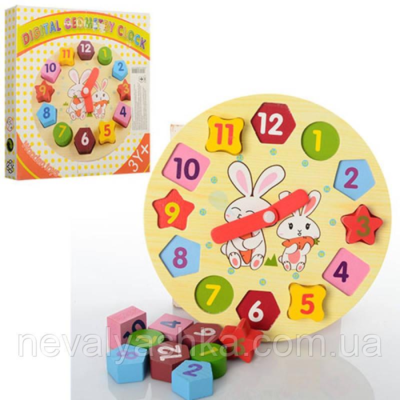 Деревянная игрушка Пазлы Часы Вкладыш Пазл, MD 0719, 006613