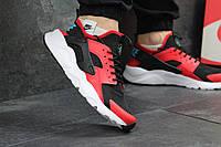 Мужские кроссовки Nike Huarache, черные с красным / кроссовки мужские Найк Хуарачи, кожа + сетка, стильные