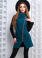 Стильное женское кашемировое пальто (кашемир, флис, асимметричная застежка на молнии, карманы) РАЗНЫЕ ЦВЕТА!